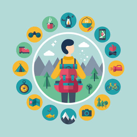 Camping and traveling concept with flat stylish icons Stock Illustratie