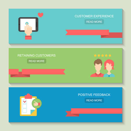website header: Website header design for customer service and client experience concept with flat icons
