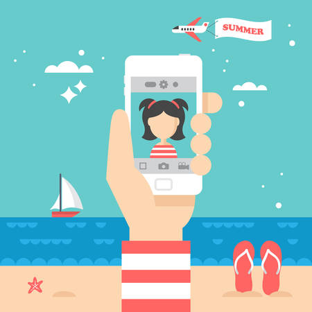 Flat stylish design for selfie photo with smart phone concept. Summer holiday vacation