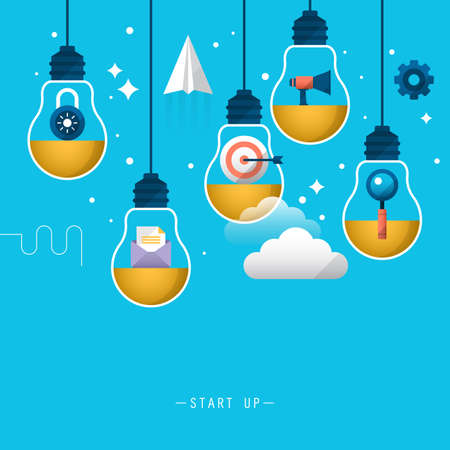 goal setting: Start up business background. Stylish design with light bulb and flat icons Illustration