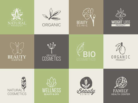 Natural, organic and beauty template with hand drawing icons