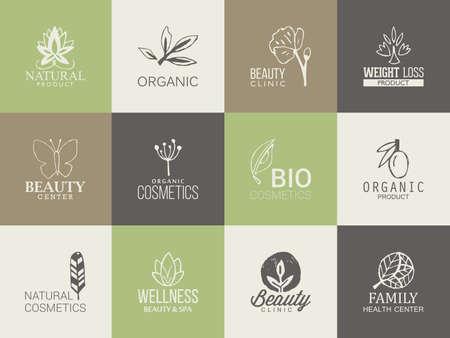Naturel, modèle organique et la beauté avec des icônes de dessin à main