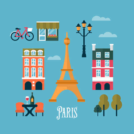 Flat stylish icons for Paris, France. Travel and tourism infographic concept