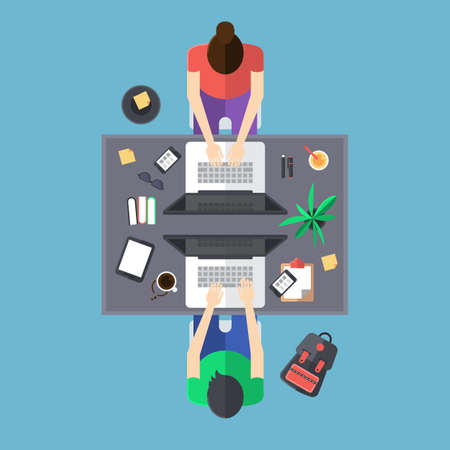 overhead view: Flat modern design of office with people working on laptop computer Illustration