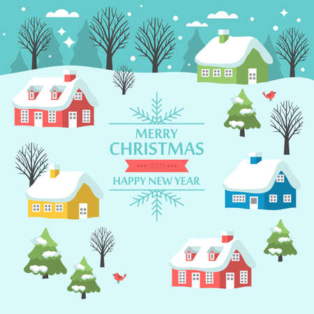 small houses: Christmas greeting card design with country landscape and small houses