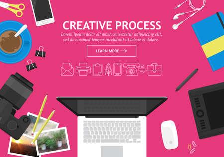concepto de diseño moderno plana para la web creativa banner de proceso de sitio web
