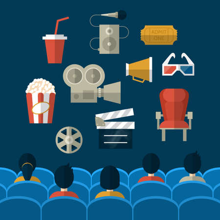 seating: Cinema and movie flat modern icons. People seating in movie theatre