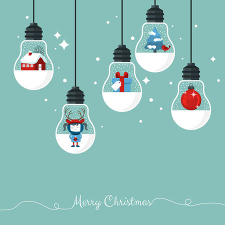 Modern Christmas card flat  stylish design. Creative design with hanging light bulbs