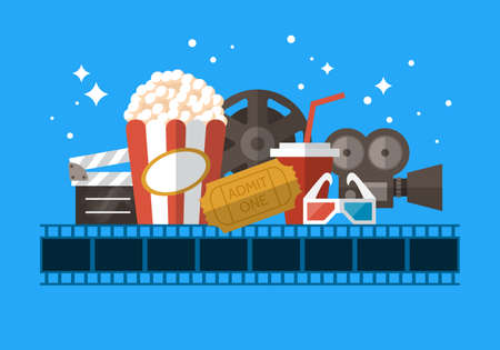 distribute: Movie theater banner design with flat modern icons