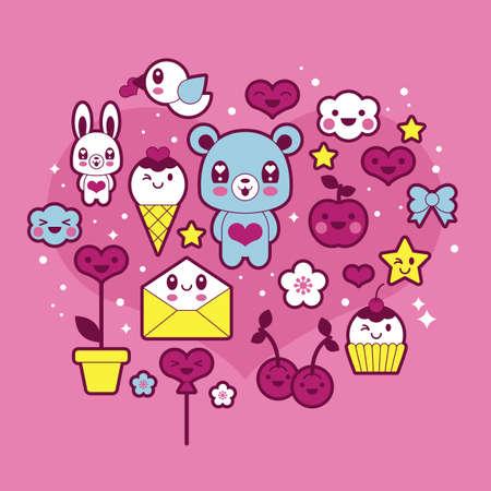 Valentines day icons set Illustration