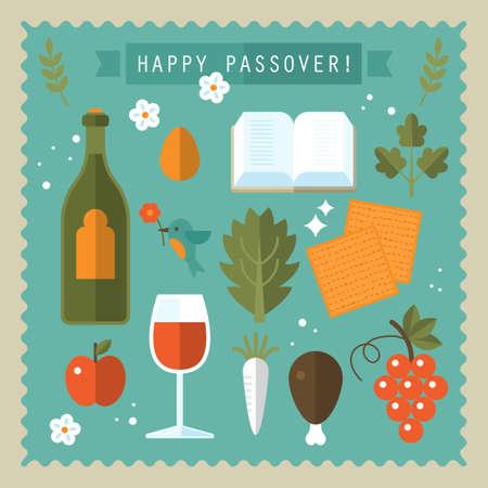 matzo: Passover seder flat icons