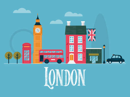 Flat stylish vector illustration for London, England. Travel and tourism concept