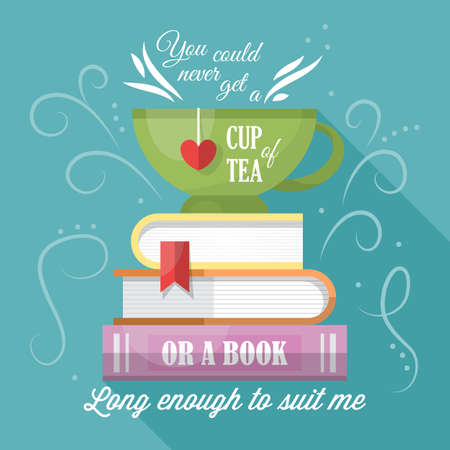 Tea cup and books modern typography poster design