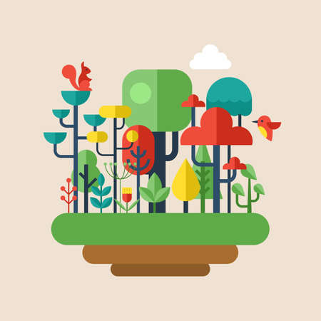 enviroment: Forest flat modern icons. Enviroment and ecology concept Illustration