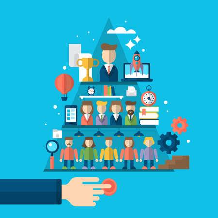 icônes design plat pour l'équipe gagnante, une gestion réussie et le conseil d'entreprise