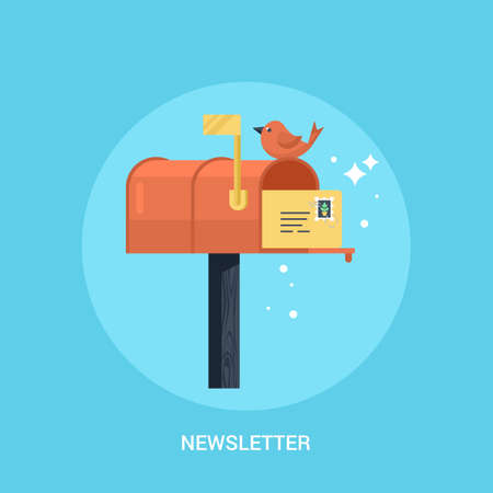 Mailbox flat modern icon. Concept of newsletter promotion andl digital marketing Illustration