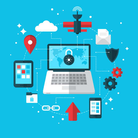 vpn: Data protection and VPN concept with flat modern icons