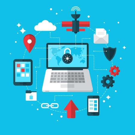 Ochrona danych i koncepcja VPN z płaskich nowoczesnych ikon