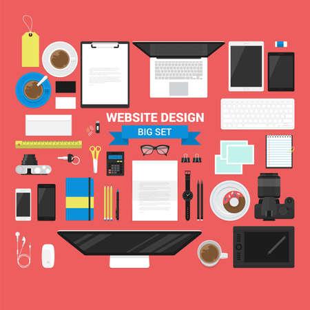 website header: Set of flat stylish business objects for website header design