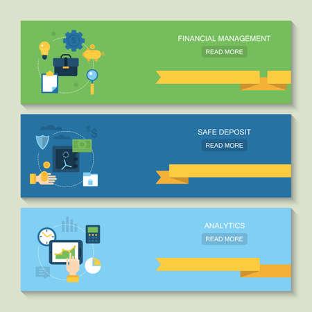 website header: Website header design for online banking, financial management, safe deposit and analytics Illustration