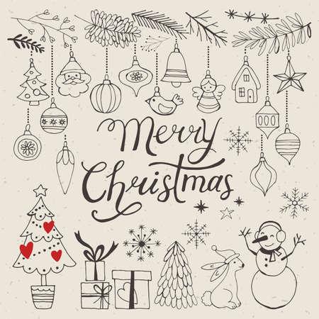 poster art: Christmas hand drawing decorative elements for design. Vector illustration Illustration