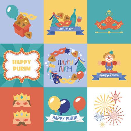 hamantaschen: Purim holiday design and greeting card set. Vector illustration