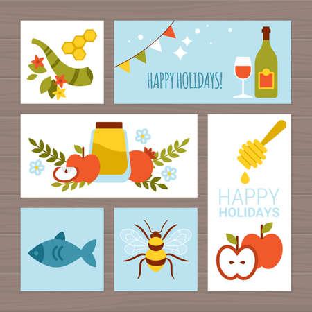 hashana: Jewish holiday Rosh Hashana (New Year) greeting card design with flat modern icons