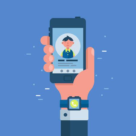 Mano de hombre de negocios con reloj inteligente sosteniendo teléfono inteligente. Concepto de tecnología de red y comunicación. Ilustración vectorial plano moderno Ilustración de vector