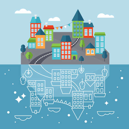 small town: Small town or village on island with reflection in sea. Flat style icons vector illustration