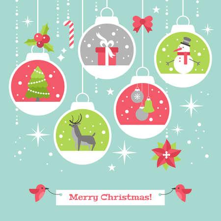 Carte de Noël moderne design élégant plat avec boules de décoration. Vector illustration Banque d'images - 64232151
