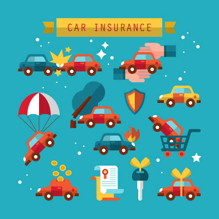 gift accident: Car insurance icon set for graphic and web design. Vector illustration