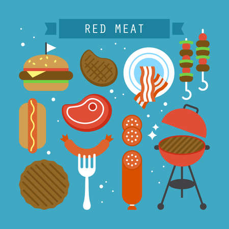 preserved: Red meat and processed meat flat stylish icons. Vector illustration