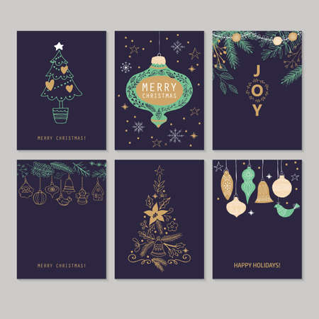 Holiday and Christmas hand drawing greeting card set. Isolated vector illustration