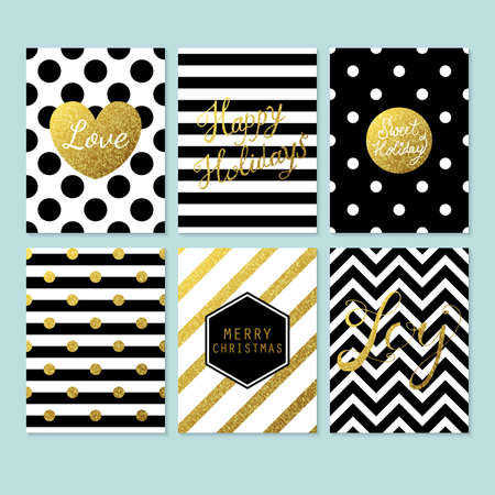 Modern creative Christmas cards in black, gold and white. Vector illustration