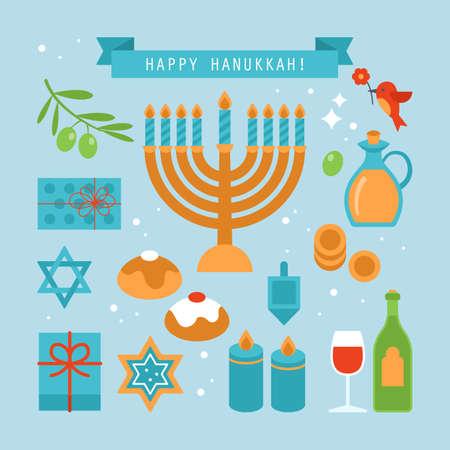 gelt: Hanukkah holiday flat stylish icons set. Vector illustration