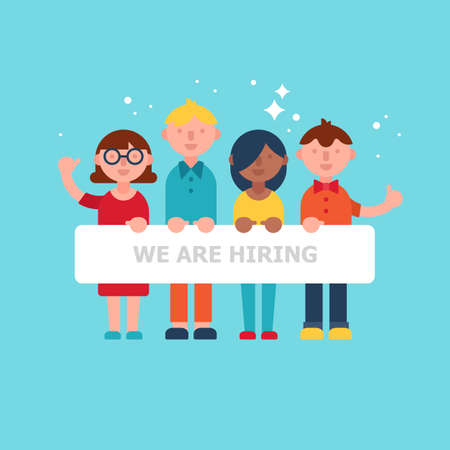 people holding sign: Team of people holding sign. Flat stylish vector illustration Illustration