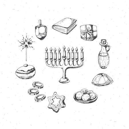 gelt: Hanukkah holiday symbols for design. Hand drawing vector Illustration
