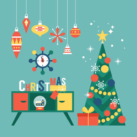 Modern creative Christmas greeting card design with Christmas tree and mid century furniture. Vector illustration