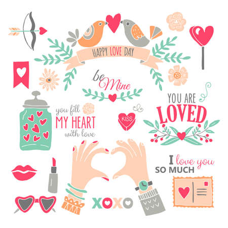 Valentine's day hand drawing design elements. Isolated vector illustration