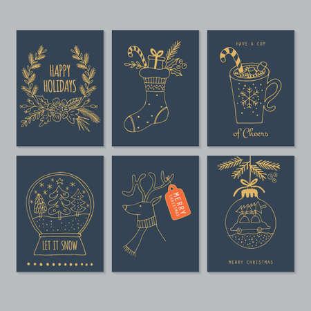 Carte de voeux de dessin de main de Noël en bleu et or. Illustration vectorielle isolée