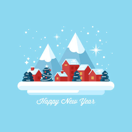 country side: Happy New Year greeting card design with small winter village landscape Illustration