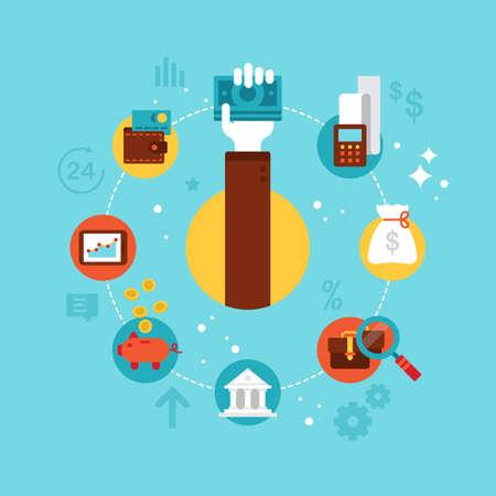 Flat icons design for online banking concept Illustration
