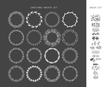 wreath set: Christmas hand drawing sketch wreath set for design. Vector illustration