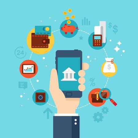 Mobile banking concept. Flat stylish icon design Stock Illustratie
