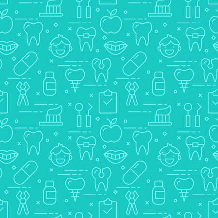 child smile: Modern thin line icons seamless pattern for dental care web graphics and design. Vector illustration Illustration