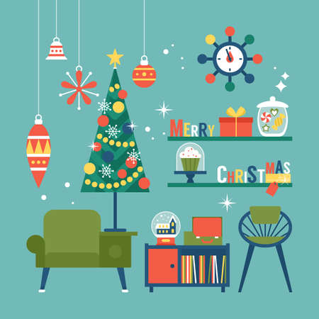 Nowoczesny kreatywny projekt kartki świątecznej z meblami z połowy wieku i dekoracjami świątecznymi. Ilustracja wektorowa