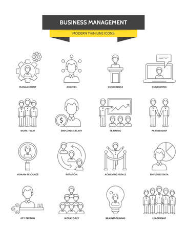 workteam: Businesss management, corporate consulting and leadership modern thin line icons for web graphics and design. Isolated vector illustration Illustration