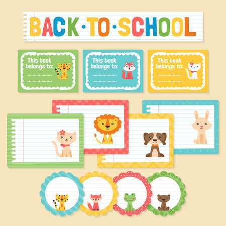 first grade: Back to school stickers and labels with cute animals Illustration