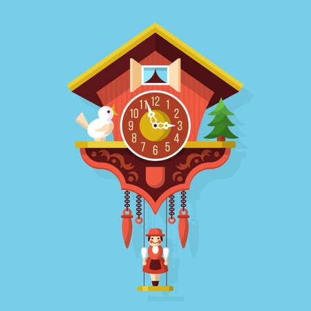 reloj cucu: ilustración vectorial de estilo plano reloj de cuco Vectores