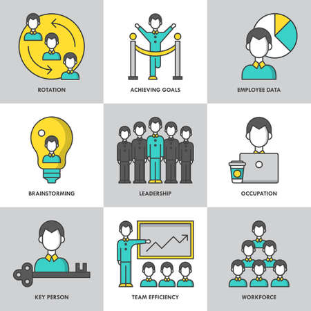 leadership key: Businesss management and leadership modern thin line icons for web graphics and design. Isolated vector illustration Illustration